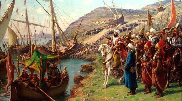Hasan Rıza Bey'in, Fatih Sultan Mehmet'in İstanbul'a girişini ve gemilerin karadan yürütülüşünü betimleyen tablosu, 1908.  #hasanrızabey #fatihsultanmehmet #artwork #fineart #resim #art #painter #painting #istanbul #fetih #istanbulunfethi #ottoman