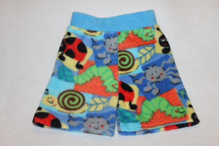 3090174 These large fleece boxers feature cheerful bugs including ladybugs, caterpillars, spiders and snails. It will soon be on www.etsy.com/shops/bananabottoms
