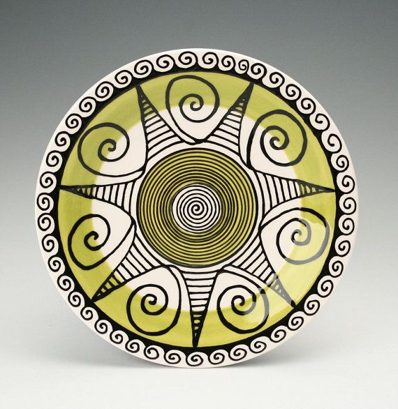 Bohemian Mandala Plate / Chartreuse Lime Green and Black