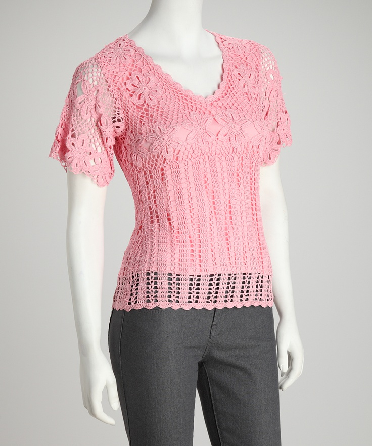 Pink Crocheted Daisy Top | Daily deals for moms, babies and kids