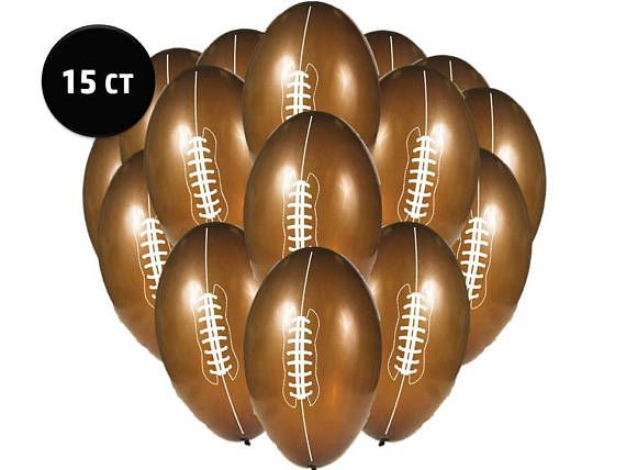 """15ct Brown FOOTBALL Shaped 9"""" Latex BALLOON Set Tailgate Superbowl Birthday Party Supplies Decoration Centerpiece Photo Prop Backdrop"""
