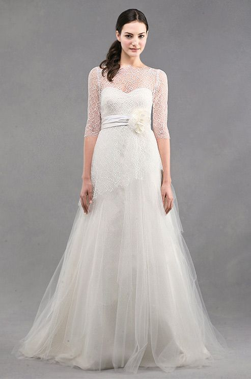 Floaty tulle Jenny Yoo wedding gown, Spring 2013