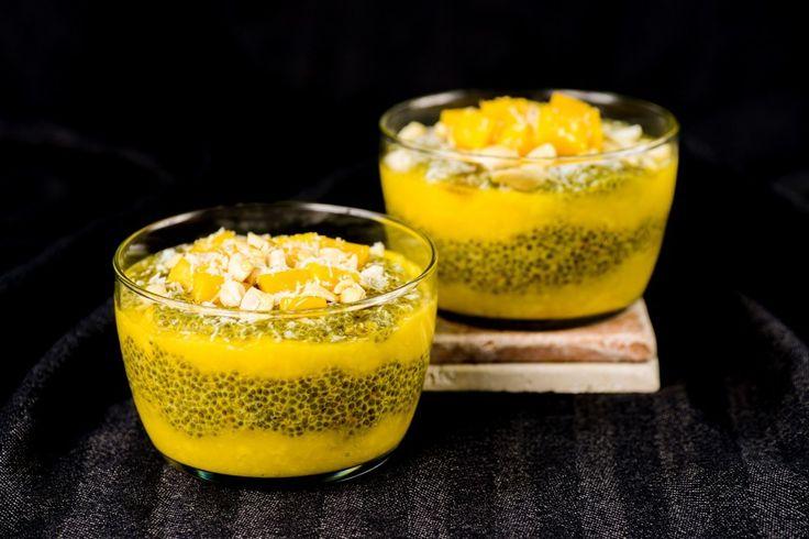 Saffron Chia Pudding With Mango and Cashews
