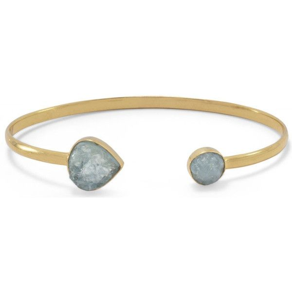 Gold Plated Aquamarine Open Cuff Bracelet ($67) ❤ liked on Polyvore featuring jewelry, bracelets, gold plated bangles, gold plated cuff bracelet, aquamarine jewelry, hinged cuff bracelet and 14 karat gold jewelry