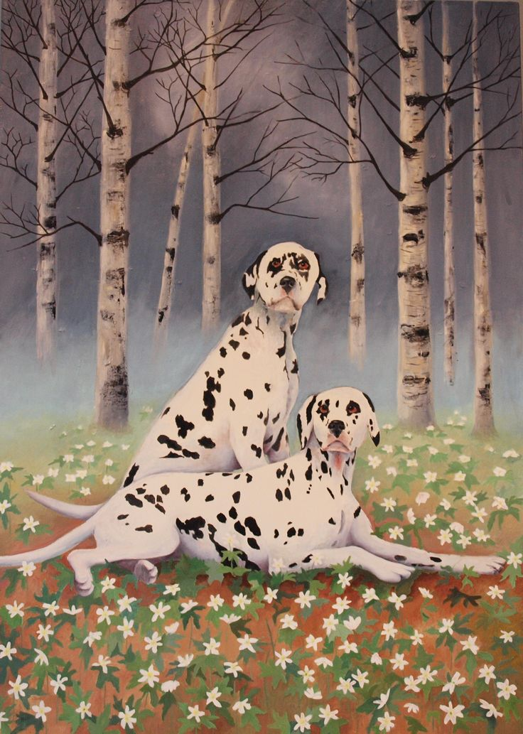 Two Dogs 110x80cm oil on canvas