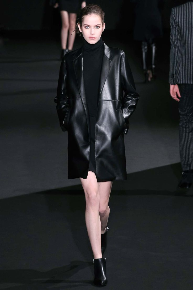 Black straight cut leather coat by Costume National Fall 2015 Ready-to-Wear Fashion Show