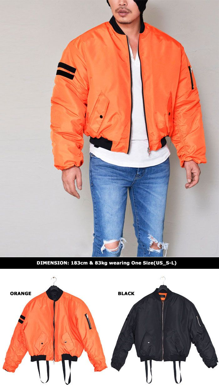 Oversized Suspender Flight Bomber-Jacket 261 by. Guylook.com op quality polyblends shell & full warm 6oz insulation Oversized fit that flatters most any body shape Double-sided front zip & stripe accent on the arm Shirrings on the sleeves Orange with black lining & black with orange lining Built-in suspender strap, which can be worn like suspender when you go warrm indoors