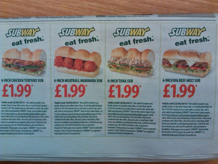 This is a voucher from the Metro Newspaper of 03/02/2015 that gives selected 6 inch Subway Sandwiches for £1.99