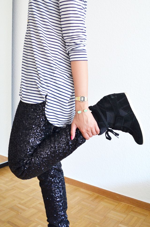#mercredie #blog #mode #fashion #blogger #geneve #suisse #switzerland #mariniere #h #pantalon #legging #sequins #noir #ash #bowie #black