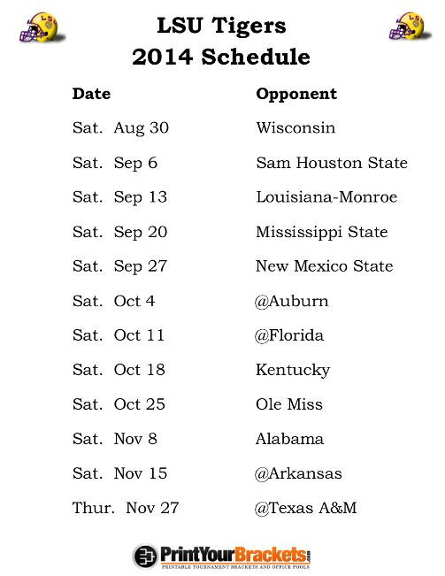 LSU Tigers Football Schedule 2014