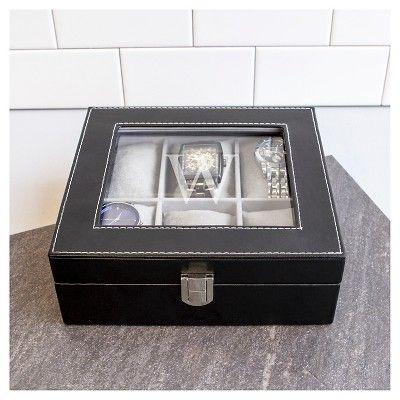 Monogram Leatherette Groomsmen Gift Watch Jewelry Box - U, Black