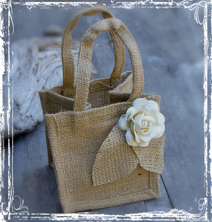Burlap Flower Girl Basket - Rustic Wedding