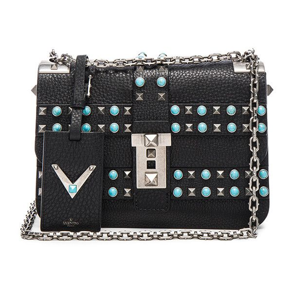 Valentino Rockstud Rolling Bag ($4,445) ❤ liked on Polyvore featuring bags, handbags, chain strap purse, leather man bag, shoulder strap purses, leather purse and genuine leather purse
