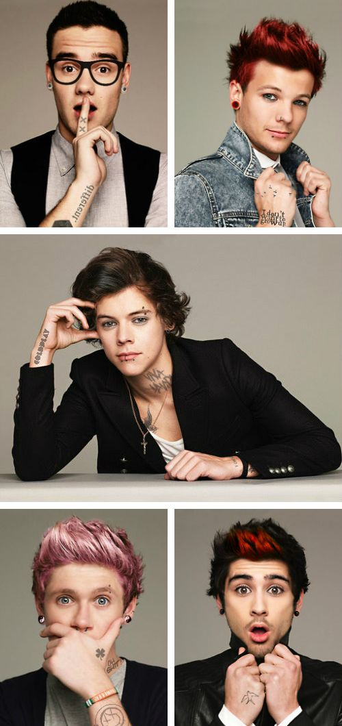 Louis and Harry oh dear Lord help me<<< what about Niall, Zayn, and Liam??< Liam just looks like that sexy punk nerd, Niall looks hotter than f**k, and Zayn looks like Zayn with some extra s**t in his hair. Pardon the language, but that's as true as it gets, girls. Honestly hope this makes you laugh or something. <<< I love these
