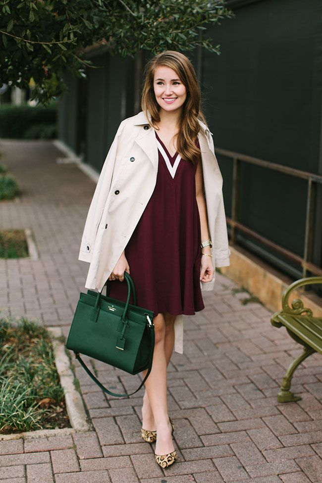 Fall Outfit Idea - ivy league, ivy league fashion, college girl, varsity fashion, kate spade candace street satchel, green purse, leopard pumps, sam edelman d'Orsay, trench coat | Fall Fashion | Fall Style | Styling for Fall | Fashion for Fall | Style Tips for Fall || A Lonestar State of Southern