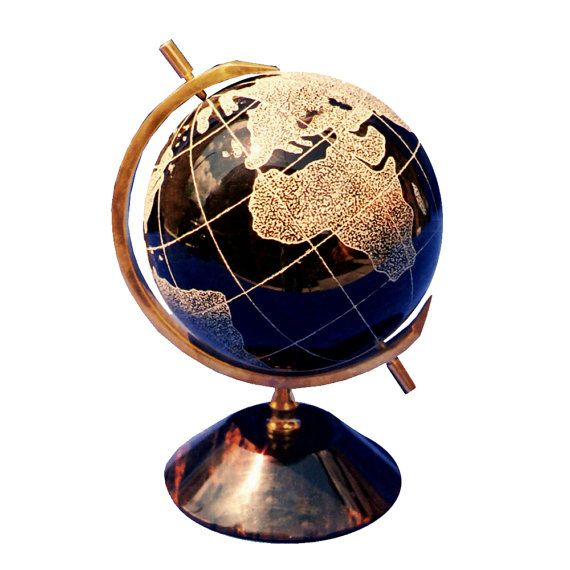 Table globe made of natural obsidian | natural stone globe | world map | office decor | table world globe | business gift