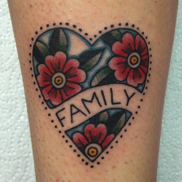 that´s lovely... family tattoo heart flowers ink