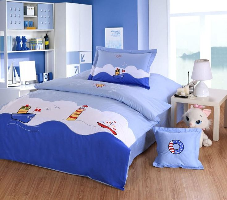 Ocean Style Boys Kids Bedding Set Embroidery Sailing Boat Light House Blue Twin Full Size Single Double Duvet Cover Children Bed Set Online with $64.31on Greatsellection's Store | DHgate.com