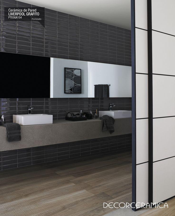 Diseño vanguardista ideado para dar vida a baños actuales… El contraste entre blanco y negro es la combinación ideal hacia la innovación. #ideasdecor #decorceramica #interiorismo #decoracion #portobello