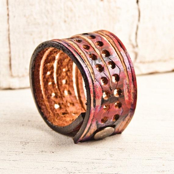 Boho Gypsy Chic Bracelets made out of Belts by rainwheel on Etsy, $35.00