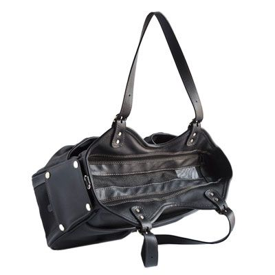 Metro Italian Leather Dog Carrier by PETote Black   Designer Dog Carriers at Glamourmutt.com