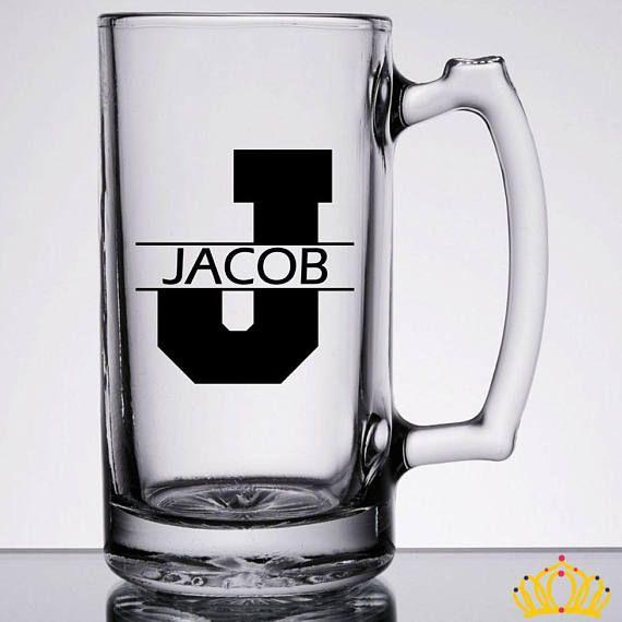 Monogram Beer Mug, Personalized Beer Mug, Groomsmen Beer Mugs, Bachelor Party Mugs, 21st Birthday Gift for Him