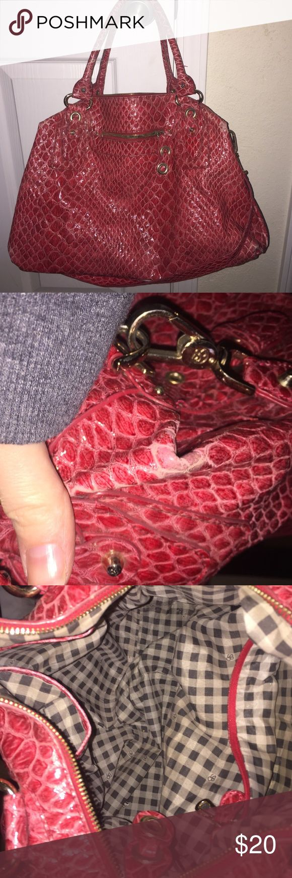 """Jessica Simpson red """"snakeskin"""" purse. Black and white gingham interior.  Some spots of the exterior are worn but not horrible. Has long strap and handles. Jessica Simpson Bags Satchels"""