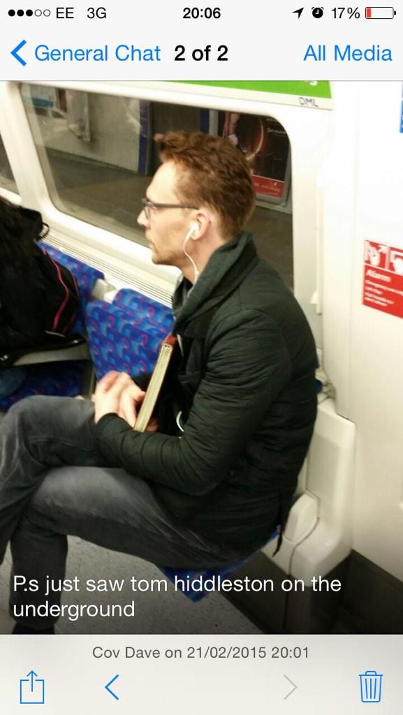 Reason #756 that I should live in London: I'd have the chance to see TH on the tube. - Look how adorable he is with his glasses!