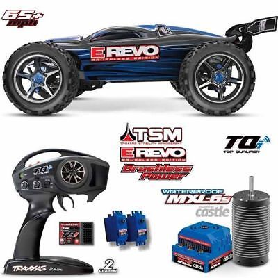 ﹩649.95. Traxxas 56086-4 E-Revo Brushless RTR R/C 4wd Monster Truck Blue w/TSM Stability    Type - Monster Truck, Scale - 1:10, Fuel Type - Electric, Required Assembly - Almost Ready/ARR/ARF (Accs required), Color - Blue, 4WD/2WD - 4WD, Motor Type - Brushless, Vintage (Y/N) - No, Product Line - E-Revo,