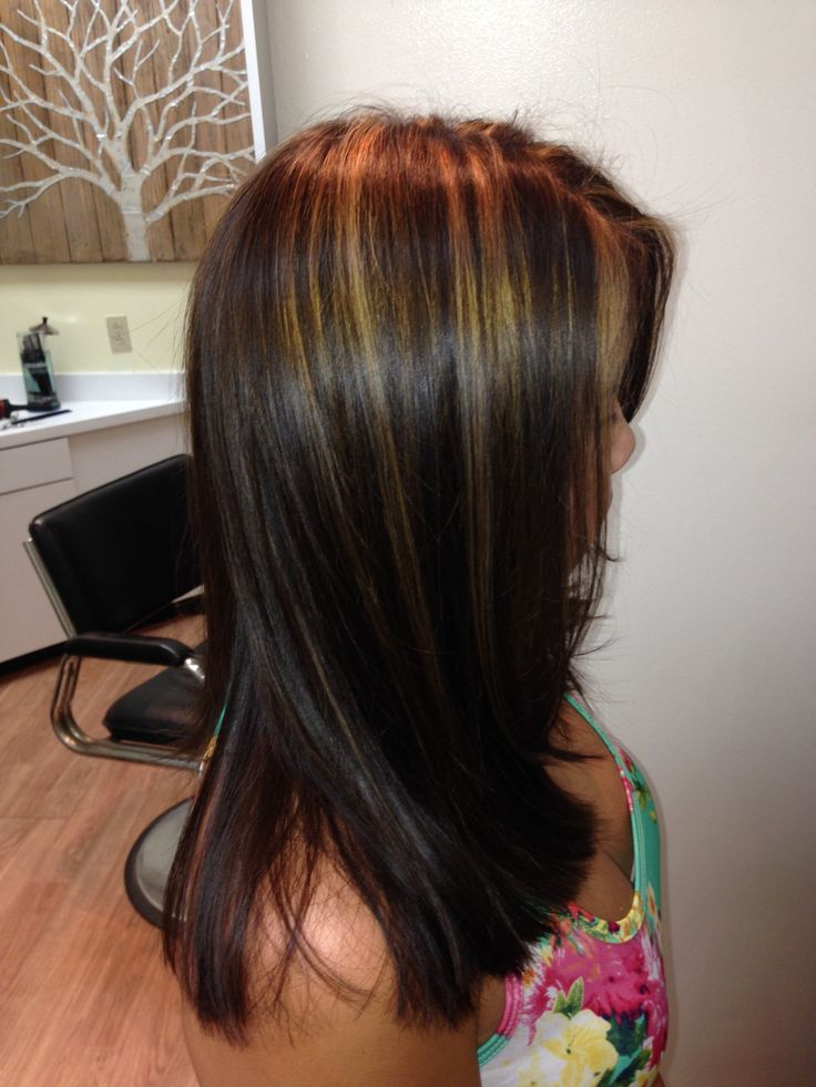 Golden Lights on Brown. By Tyler Fenix @ Eco Hair Color Style with Organic Color Systems.