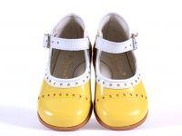Raaf en Vos hippe kinderschoenen enzo // hippe kinderschoenen in winkel en online in webshop - Zecchino d oro schoen gesp pastelgeel rand in wit (m19-m23) - Hippe kinderschoenen en zo!