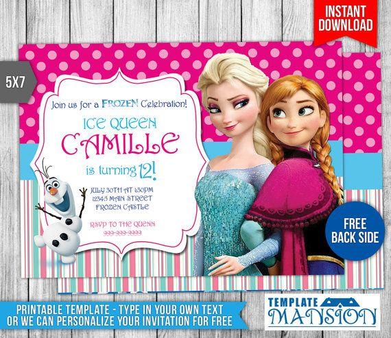 Disney Frozen Invitation Disney Frozen Birthday by TemplateMansion