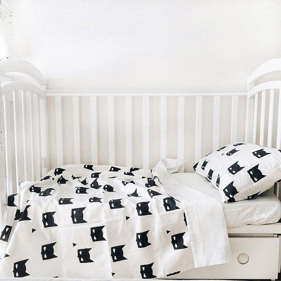 Baby Bedding - Nursery Bedding Set - Black Batman Bedding - Baby Bedding Crib - Unique Bed Clothing - Handmade Bedding Set - Black And White