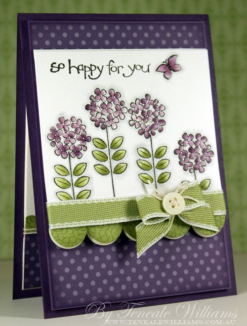 handmade card ... sweet watercolored flowers ... dusty purple,  light olive and white ... big scallop edge ... bow topped witha a button ... great card!! ... Stampin' Up!