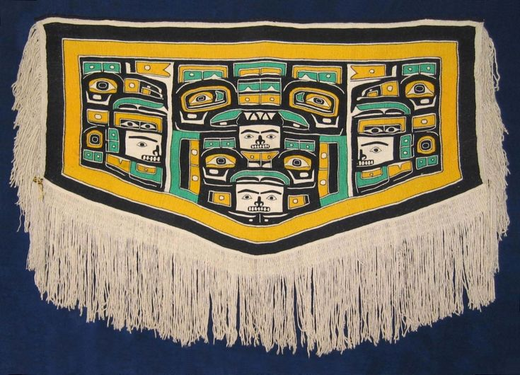 Mary Ebbetts Chilkat sold for $92,000 at auction :(   This one was made for her daughter Elizabeth (Lizzie) Wilson (nee Hunt). Quite the green, though!
