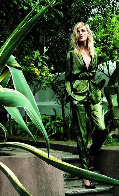 Metallic draped greenery....Anja Rubik by Marcin Tyszka for Viva! Nov. 2014   Fashion photography   Editorial