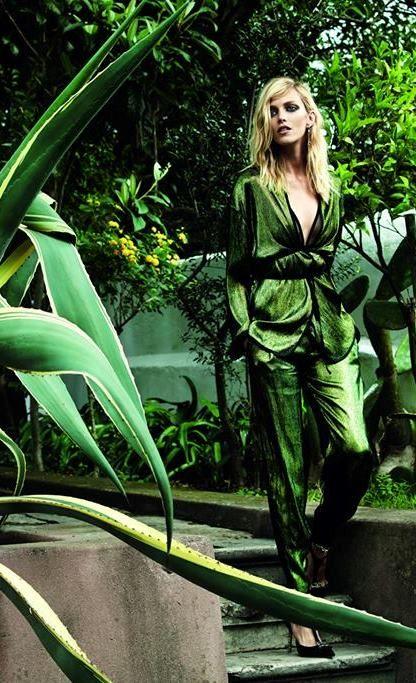 Metallic draped greenery....Anja Rubik by Marcin Tyszka for Viva! Nov. 2014 | Fashion photography | Editorial