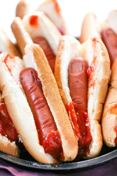 #ad Make these Bloody, Severed Finger Hot Dogs for your Halloween party // Salty Canary // #ClubBash