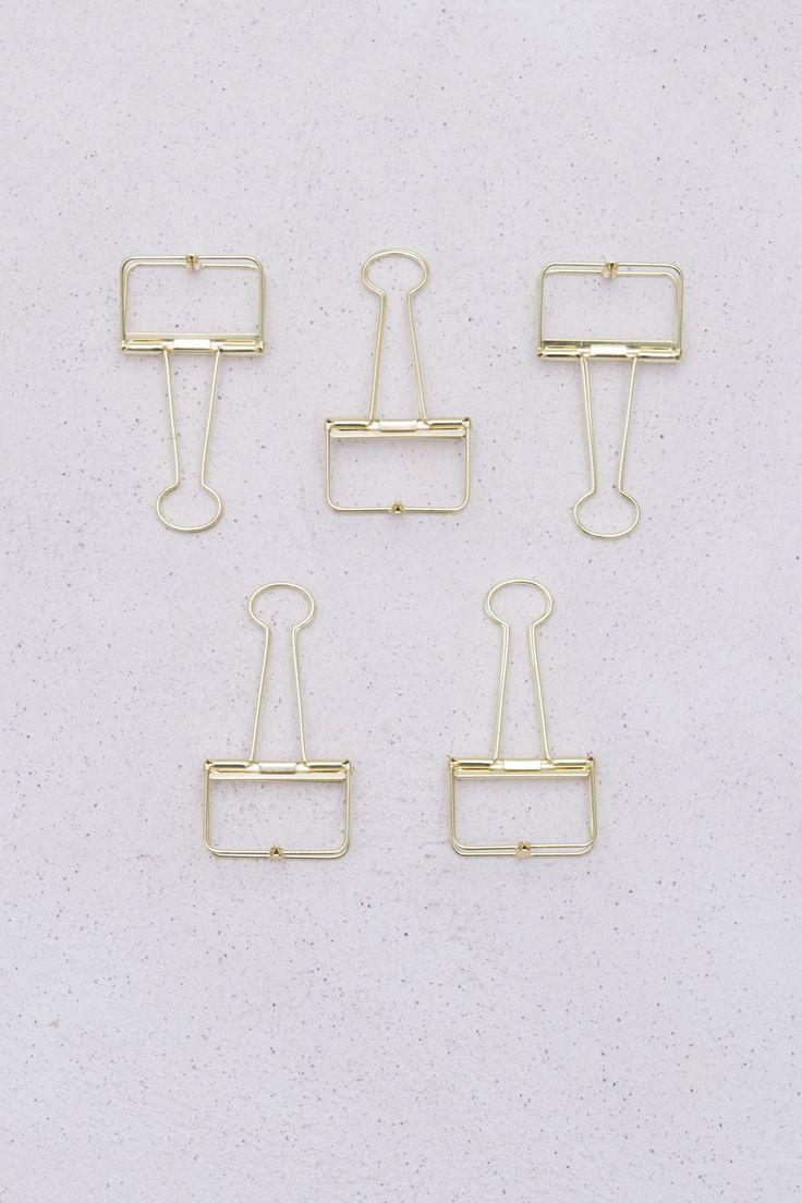 Desk accessory - Fold back clips gold large-2