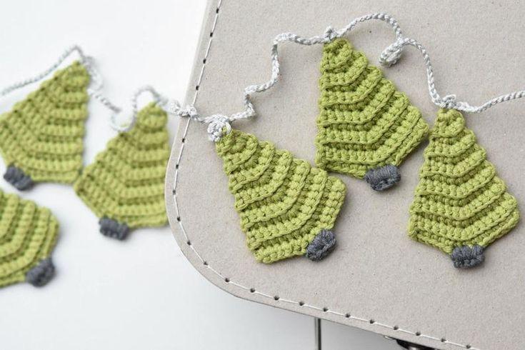 Muster – Weihnachtsbaum Girlande – häkeln Muster, Heimtextilien, häkeln Ornament, Geschenkpapier, DIY, 4 Sprachen