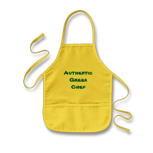 Authentic Greek Chef Kids Apron - Let your kids proclaim their Greek cooking talent!  http://www.zazzle.com/authentic_greek_chef_kids_apron-154409411136811524