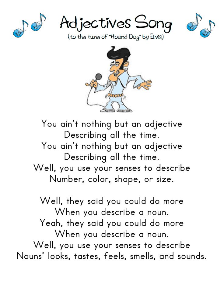 Adjectives Song.pdf Google Drive First grade writing