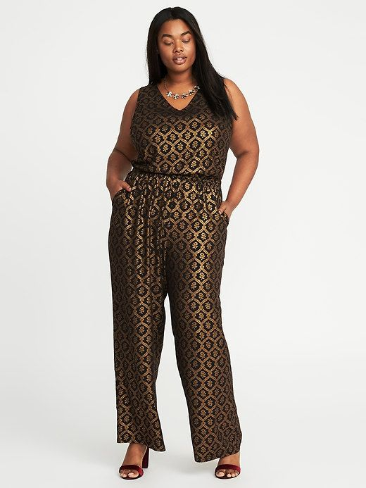 a64e1674b159 Old Navy  Sleeveless Jumpsuit in gold black
