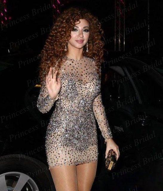 Luxury Sexy Sheath Short Mini Full Beaded Full/Long Sleeves Celebrity Dresses 2017 Myriam Fares Vestido de Festa Cheap Hot Sale