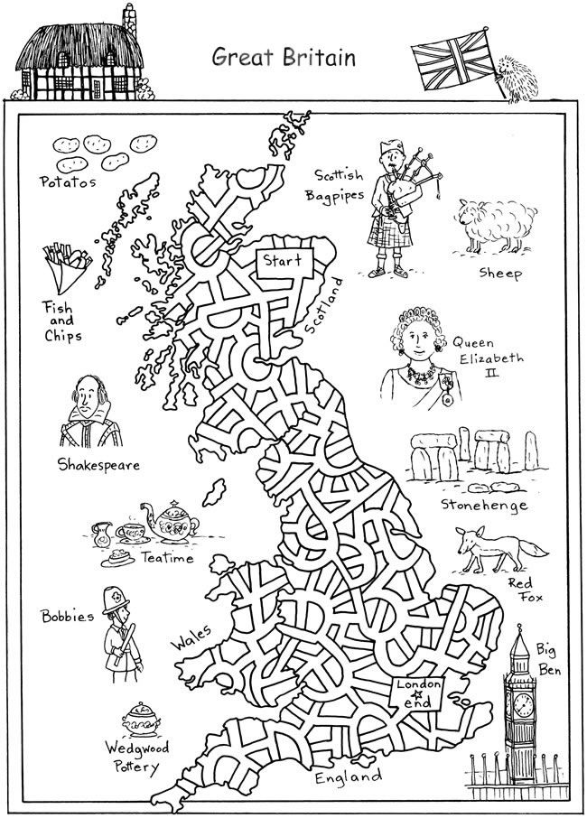 World of Mazes - Sample Pages, Great Britain, Brazil, China