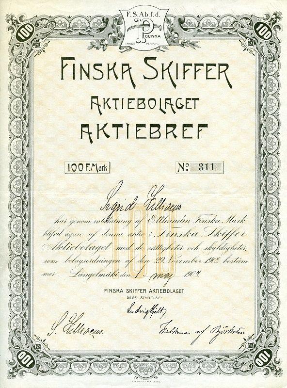 Finska Skiffer Aktiebolaget #osakekirjat #osakkeet