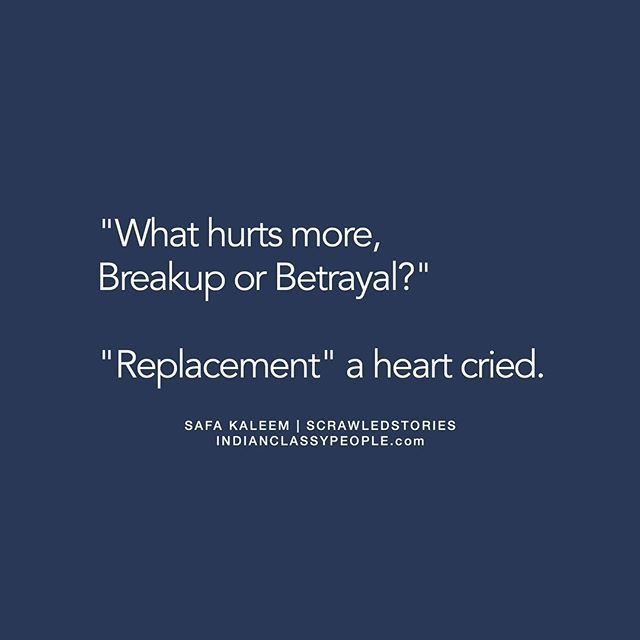 """""""A replacement"""" Shared by @safakaleem If you like the story, appreciate the writer by commenting. ⠀⠀⠀ [Original] What hurts more breakup or betrayal? She replied with tears in her eyes """"Replacement""""."""