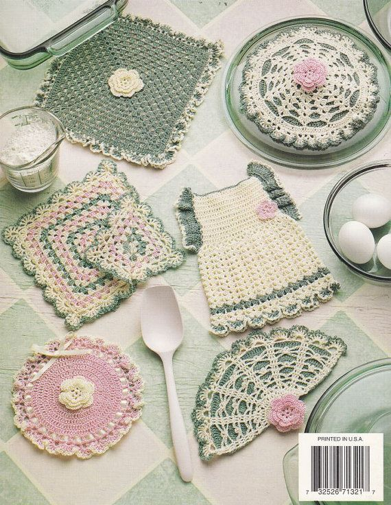Heirloom Potholders Crochet Patterns by PaperButtercup on Etsy