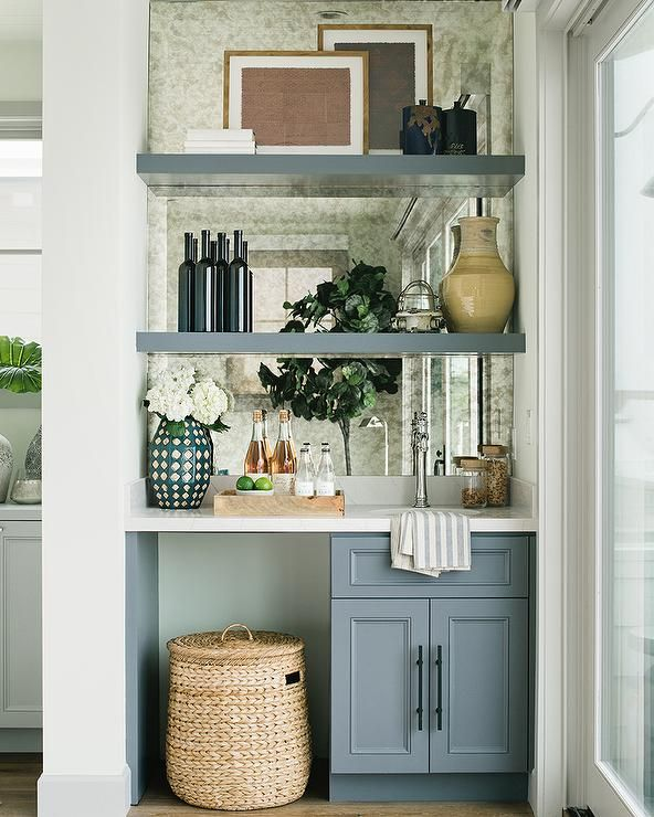 Home Mini Bar Design Ideas: Wet Bar Nook With Blue Cabinets And Shelves + Mirrored