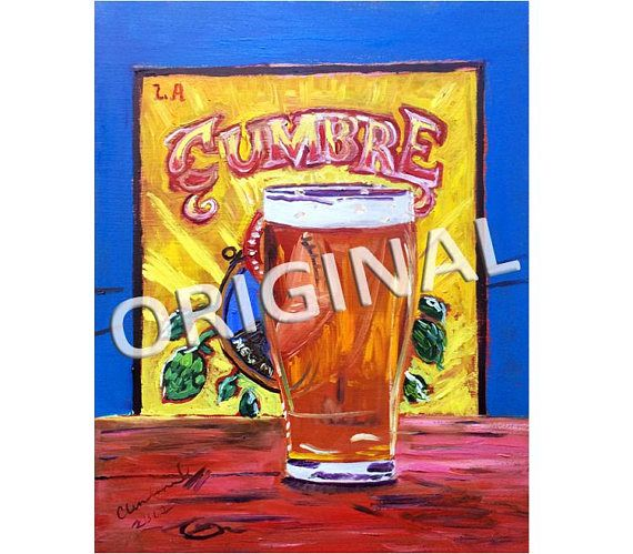 La Cumbre Brewing, New Mexico Beer Poster, Food Painting, Craft Beer Gift, Elevated IPA, Kitchen Beer Art, Gift for Brother, Gift for Him Beer art by Scott Clendaniel. www.realartisbetter.etsy.com